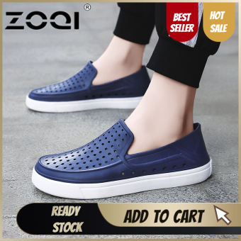 ZOQI Slip On Garden Shoes Lightweight Beach Sandals For Men Casual Water Slippers Men Shoes(Dark Blue) - intl