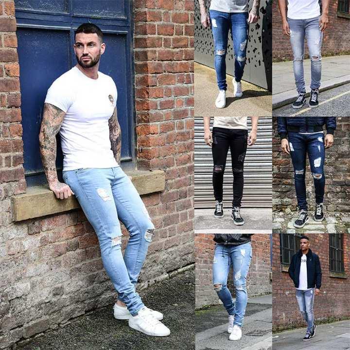 Zzooi Skinny Jeans Pants New Men S Slim Fit Designer Blue Hombre Ripped Fashion Classic Black Pantalon Roupas Retro Elastic Pants Cool Lazada