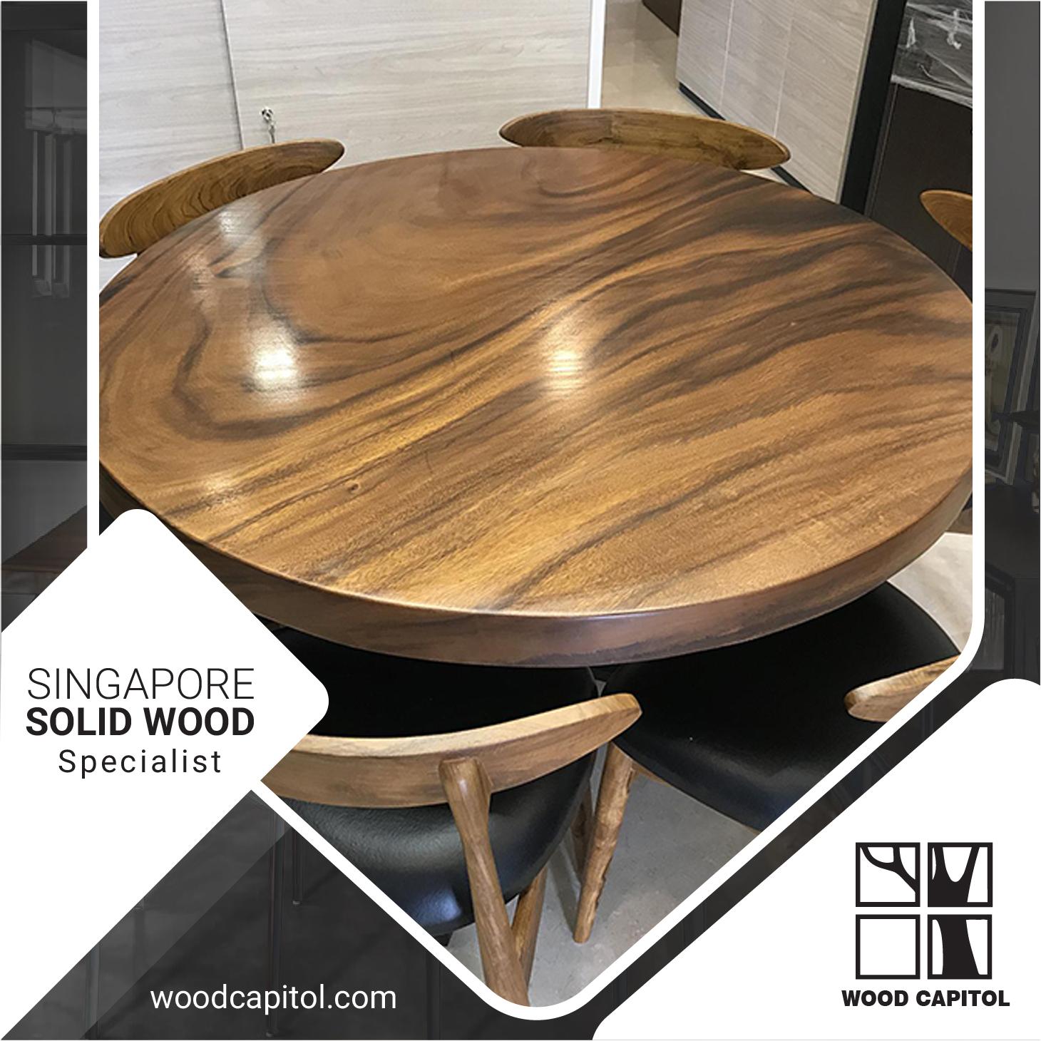 Wood Capitol Suar Wood Round Dining Table Lazada Singapore