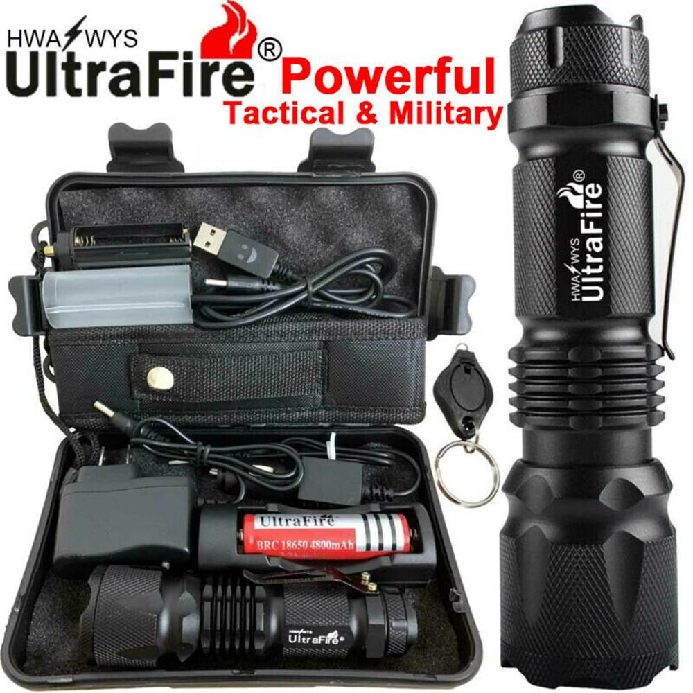 90000LM Tactical Military T6 Zoomable LED Flashlight 18650 Torch Work Light Camp