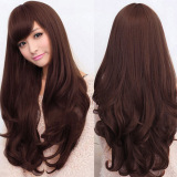 Bluelans® Women Lolita Curly Wavy Long Full Wig Heat Resistant Cosplay Party Hair Dark Brown image on snachetto.com