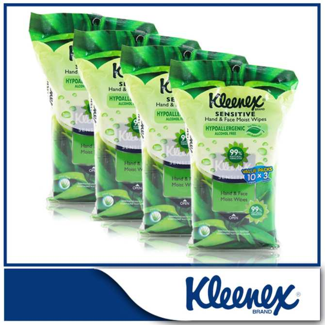 Kleenex Sensitive Hand & Face Moist Wipes 3x10sheets x 4