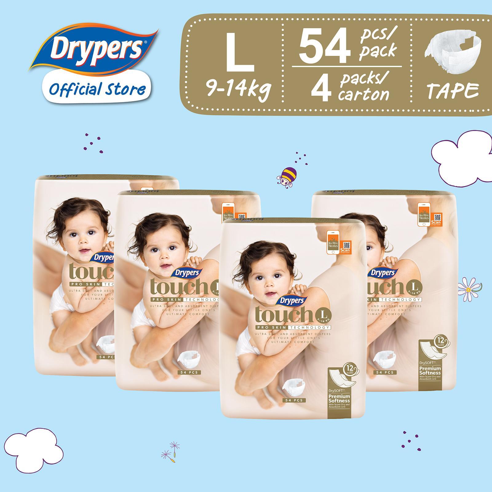 Drypers Touch L (9 - 14kg) 54s x 4 packs 216pcs