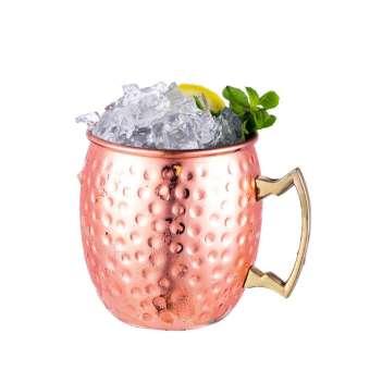 แนวยุโรปและอเมริกาค้อนแก้วทองเหลืองมอสโกแก้วทองแดงถ้วย Moscow MULE ค็อกเทลถ้วยกาแฟสแตนเลสทองแดงชุบถ้วย