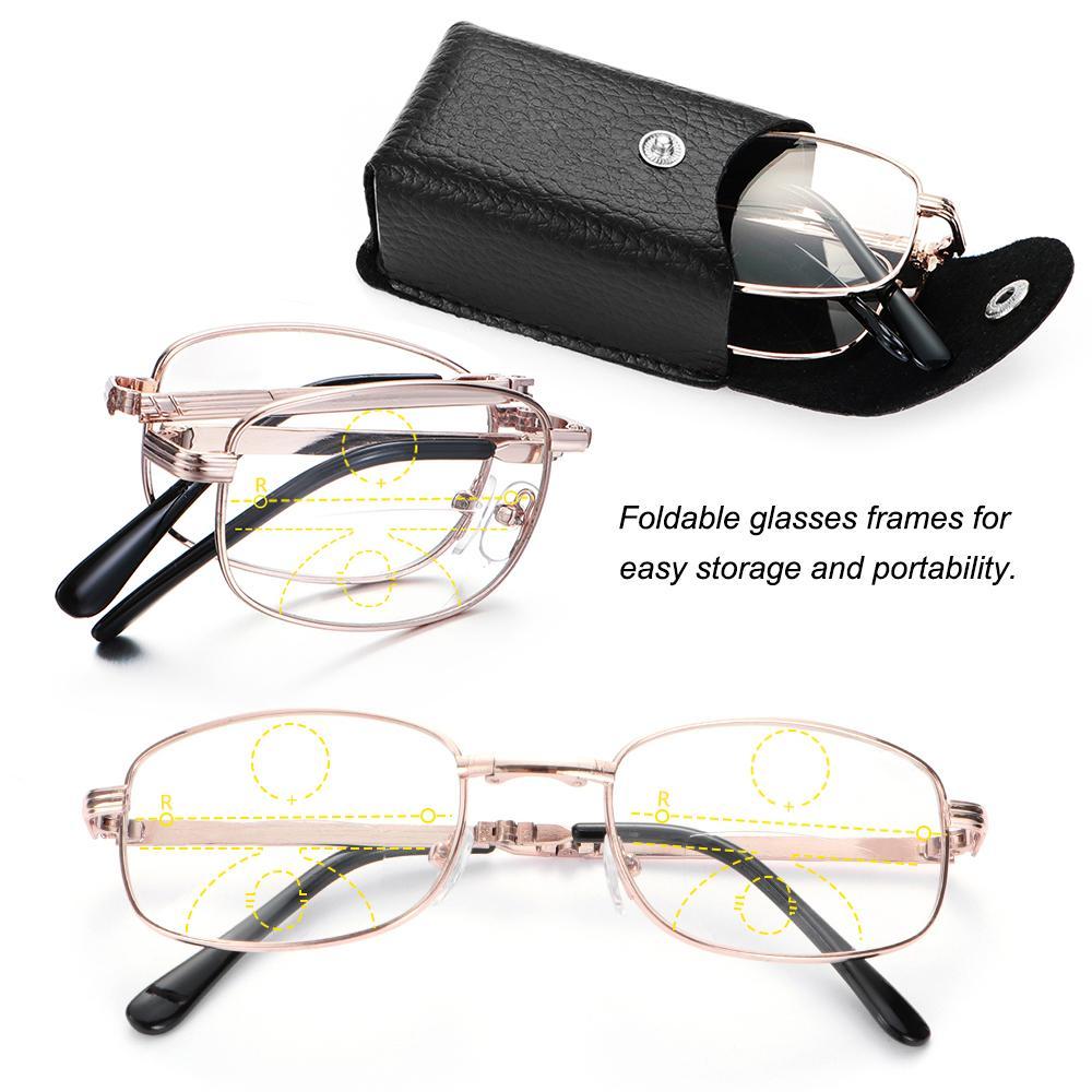 1* Unisex Folding Far Near Sight +1.00~+4.00 Degree Includes Glasses Case Progressive Multifocal Lenses Presbyopia Eyeglasses Metal Reading Glasses