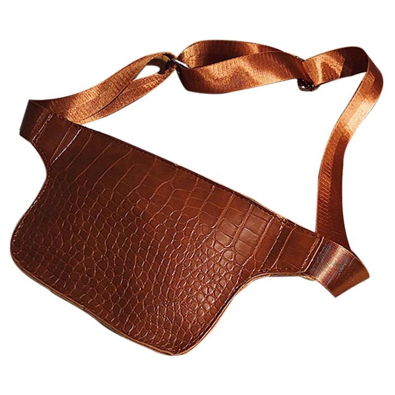 Fashion Men PU Leather Waist Fanny Chest Packs Shoulder Bag Crossbody Hiking Bag