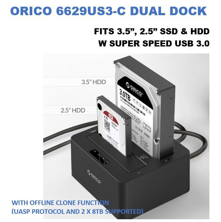 ORICO External Hard Drive Docking Station USB3.0 Dual-Bay Storage Offline Clone