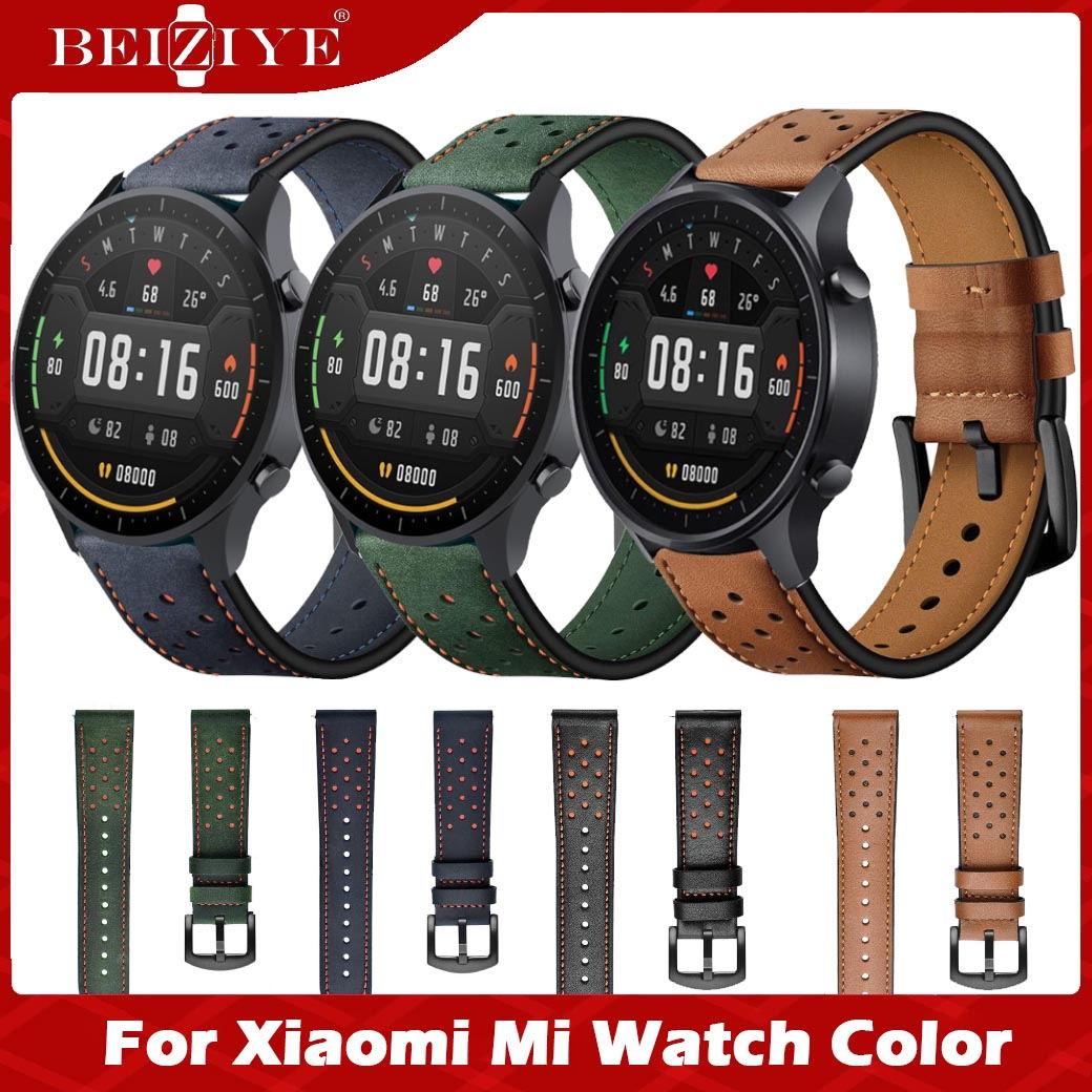 Dây đeo tay bằng da 22mm cho đồng hồ Xiaomi Mi Dây đeo màu thay thế Dây đeo đồng hồ cho đồng hồ thông minh xiaomi mi watch thumbnail