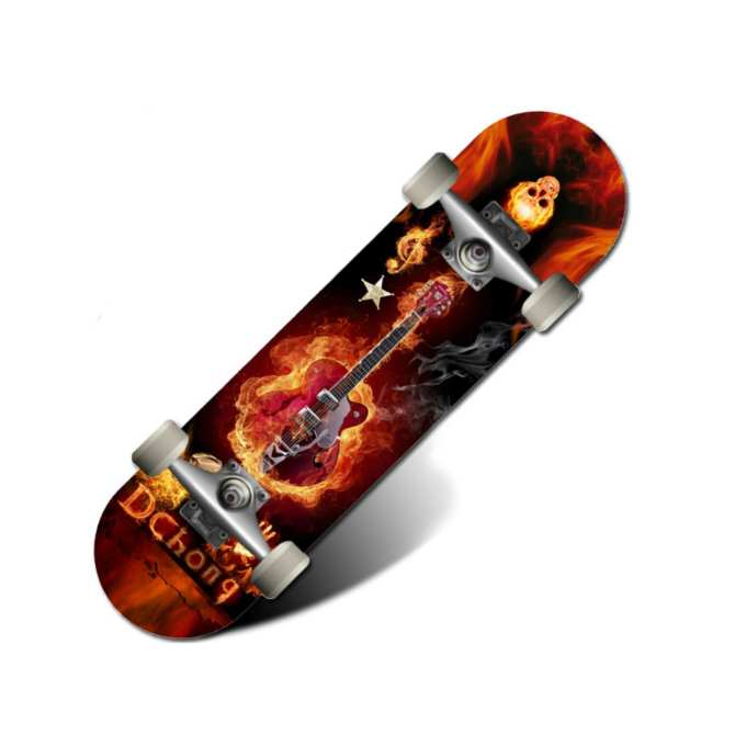 Fiery Electric Guitar Skateboard | Complete Skateboards for Beginners and Pros