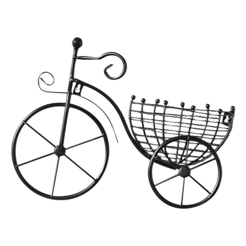 Creative Bicycle European Style Wrought Iron Wall Hanging Flower Rack Living Room Balcony Wall Hanging Flower Basket Decorations, Black