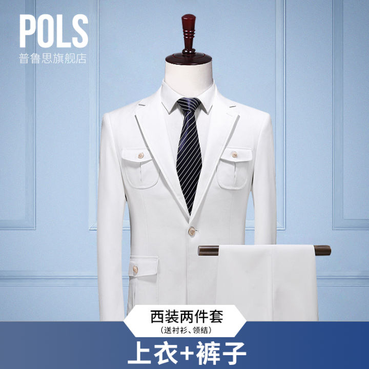 Suit Suit Men S Two Piece Suit Slim Fit Business Business Formal Wear Bridegroom Best Man Wedding Dress White Suit For Men Lazada