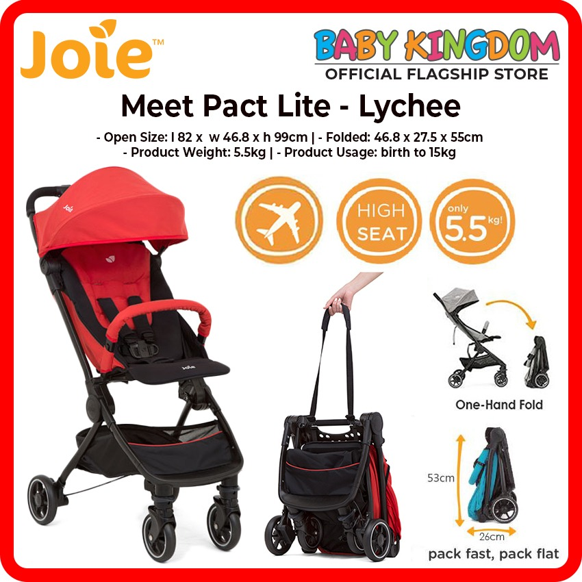 Joie Pact Lite Stroller w/RC & TB (Lychee Red / Gray Flannel / Mango/Blue) come with FREE Rain Cover and Travel bag