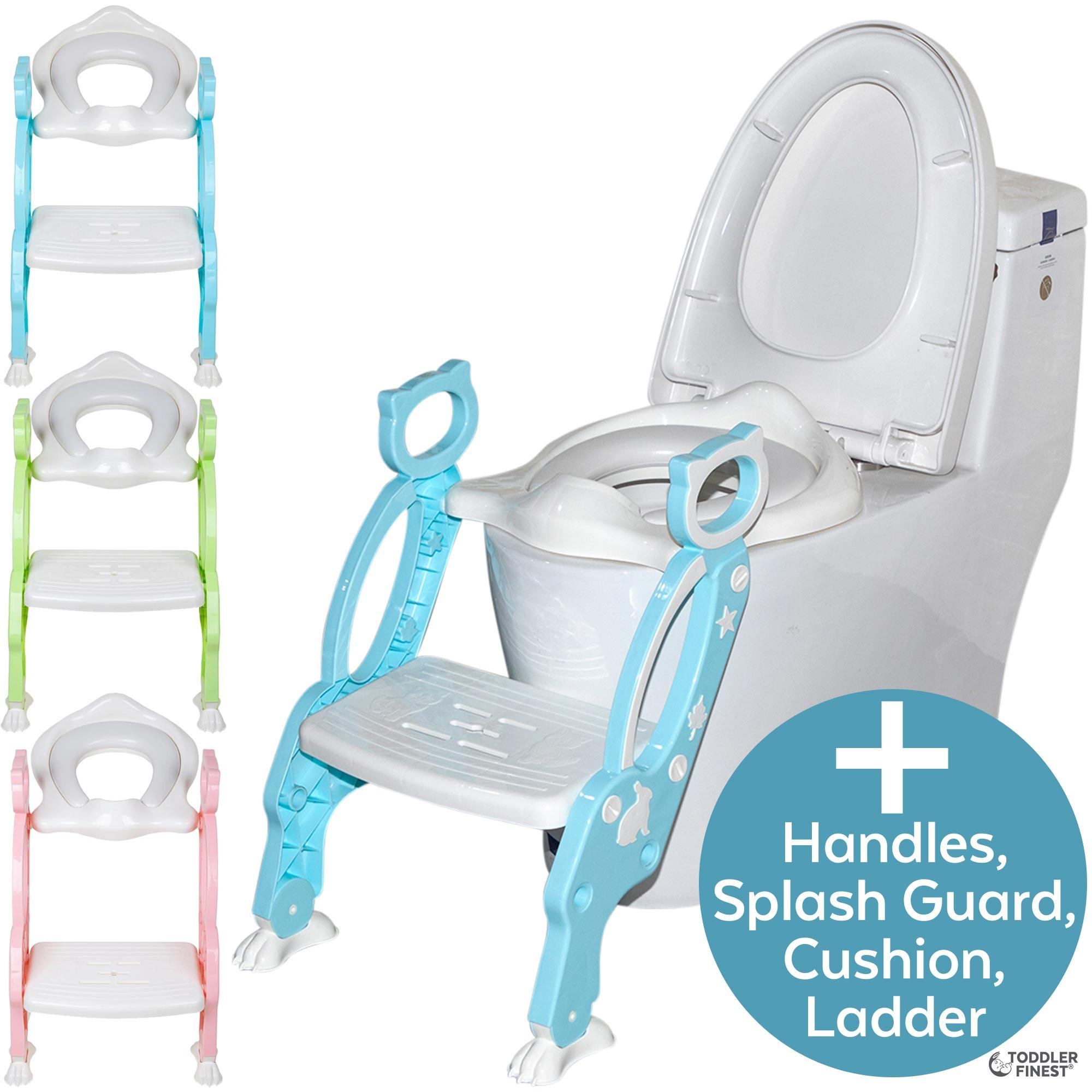 2 In 1 Potty Training Seat With Step Stool Ladder Adjustable Toddler Toilet Training Seat Soft Anti Cold Padded Seat Non Slip Urinal Pad Splash Guard Safe Handle Portable Easy Clean