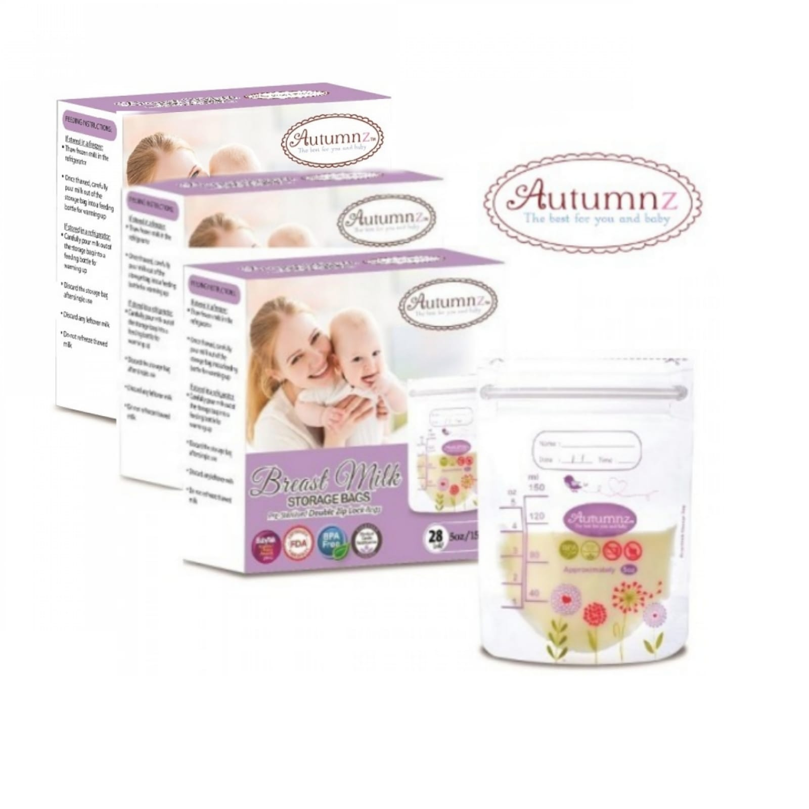 5 / 7 / 10 / 12oz *3 boxes 84 bags* Autumnz Breast milk Breastmilk storage bags *Sterilized BPA Free Double zip lock bags