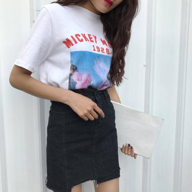 Korean-style female New style irregular skirts cowboy dress
