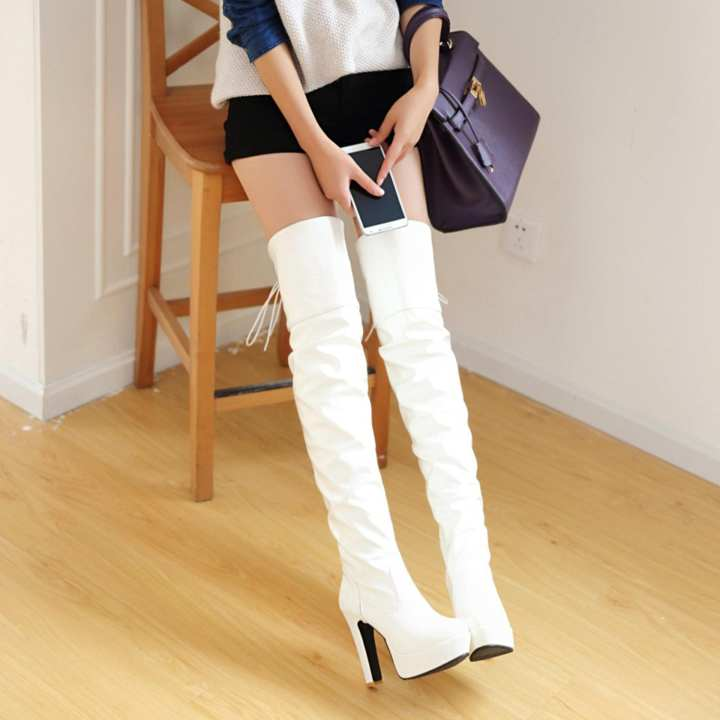 Man/Woman~Fashion Women Sexy High Thick Thick Thick Heels Platform Round Toe Riding Boots Women Shoes Woman 34-43 Over The Knee Boots (white) - intl ~High Quality Materials 196b39