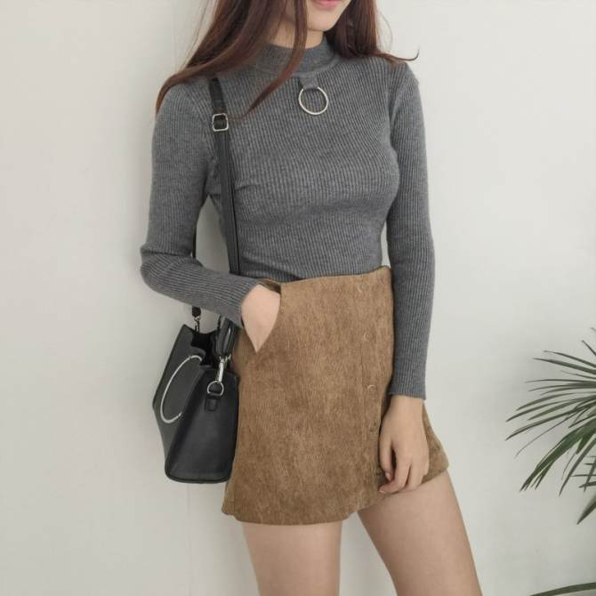 Hair female pullover Slim fit base shirt sweater (Gray)