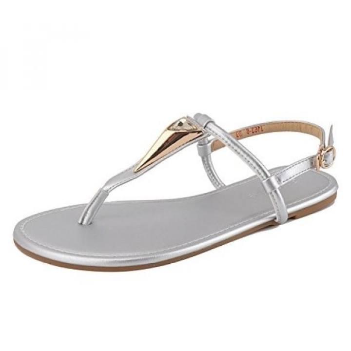 Man's/Woman's~Meeshine Women Summer Flat Flat Flat Sandals Shoes Rhinestone Ankle Strap Flip-flops US,Silver) - intl ~New Market 3082b4