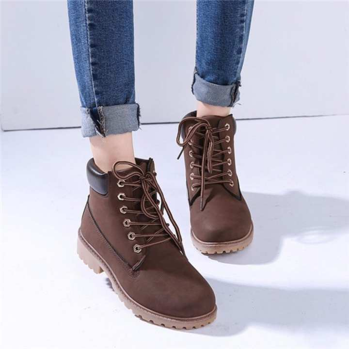 New Work Boots Women's Winter Leather Boot Lace up Outdoor