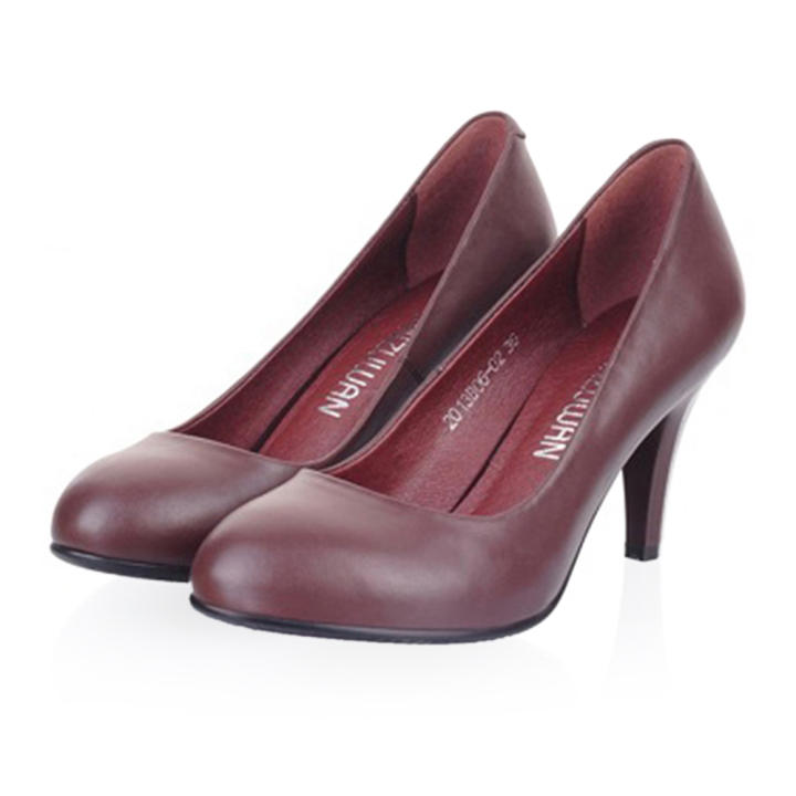 Man/Woman Plain Thin Shoes Shoes Shoes All-match High Heel Low-cut Round Last Plus Size brown  High Security 5f4b15