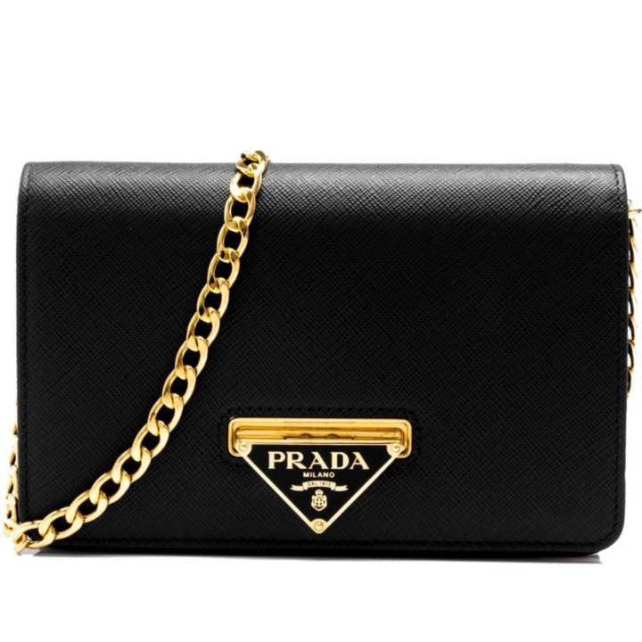 Prada Saffiano Lux Wallet On Chain (Nero)  1afcfeb4e4d7e