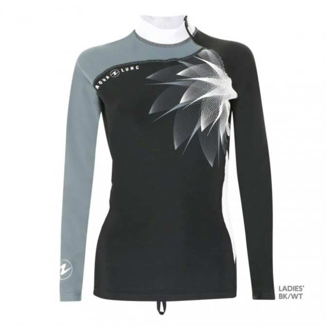 Rashguard Black/White Women Long Sleeves & Zip