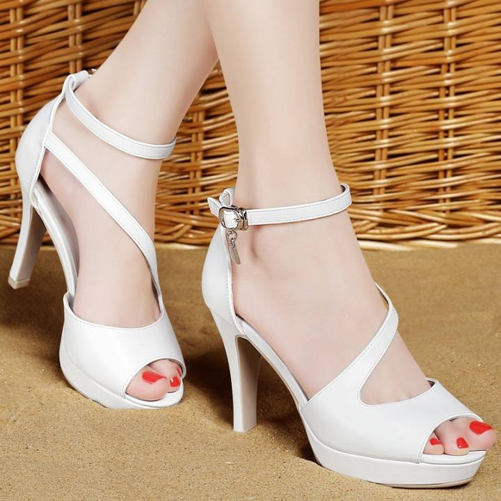 Sandals, summer fashionable high heeled shoes, white fashionable summer leather shoes, fine heel,36 white - intl 6c61a6