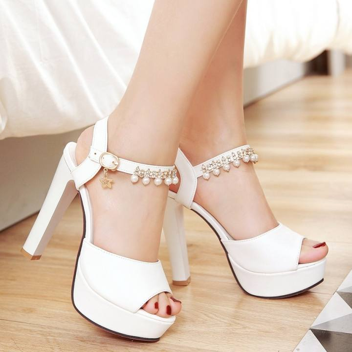 Sandals, summer, word with thick, high heels, sweet beads, big mouth yards, womens shoes, fish mouth big shoes, waterproof Taiwan,Thirty-five,White 12cm heel! - intl dd5147