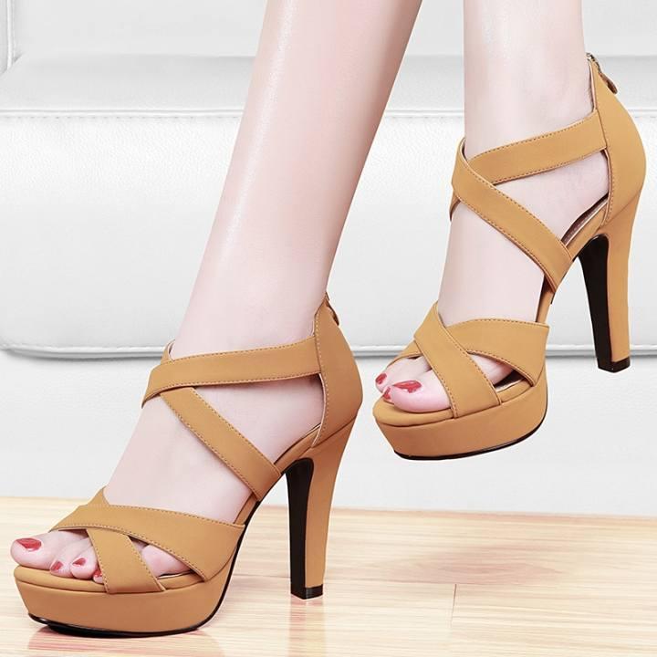 Sexy summer sandals, heels, ladies, waterproof heels, high heels, sandals, summer,36 apricot - intl d9dffc