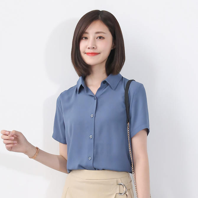 Korean-style loose shirt chiffon shirt (Dai blue) (Dai blue)