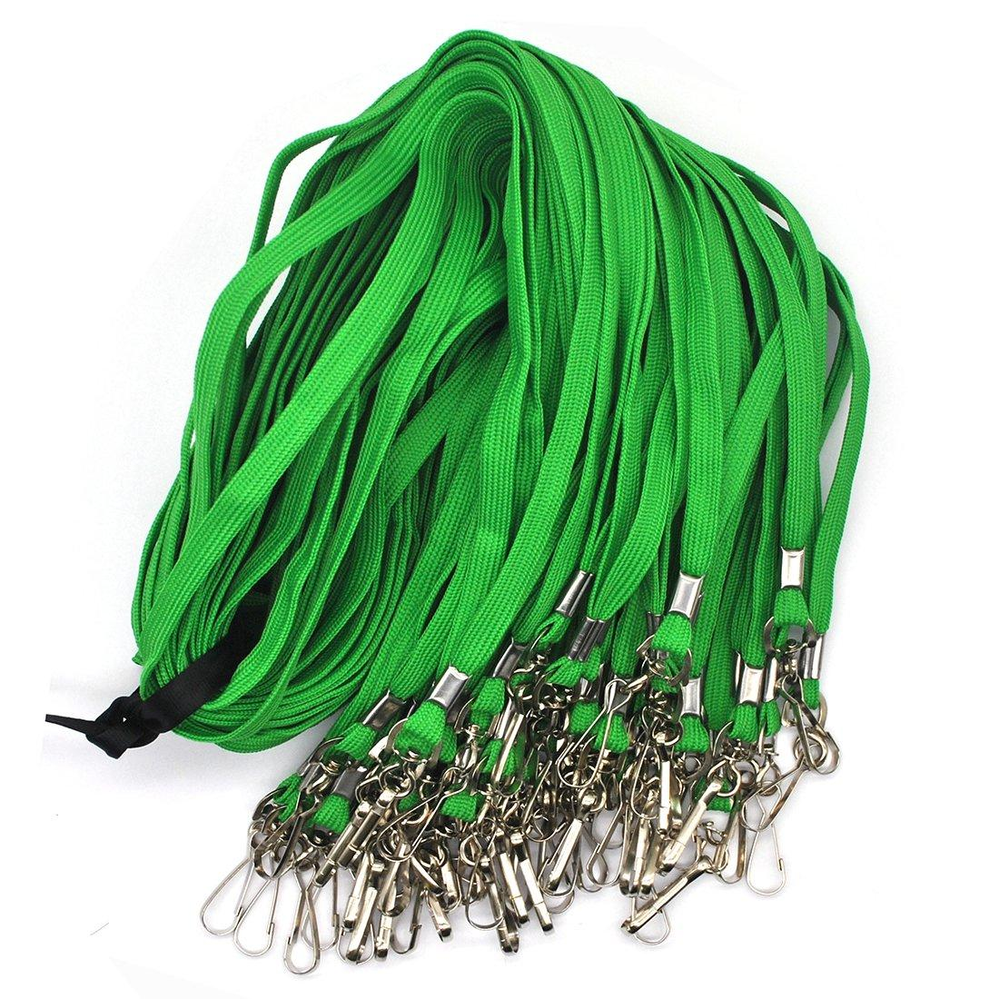 Green Bulk Lanyard 32 Flat Lanyards with Swivel Hook Attachment Lanyards with Clip