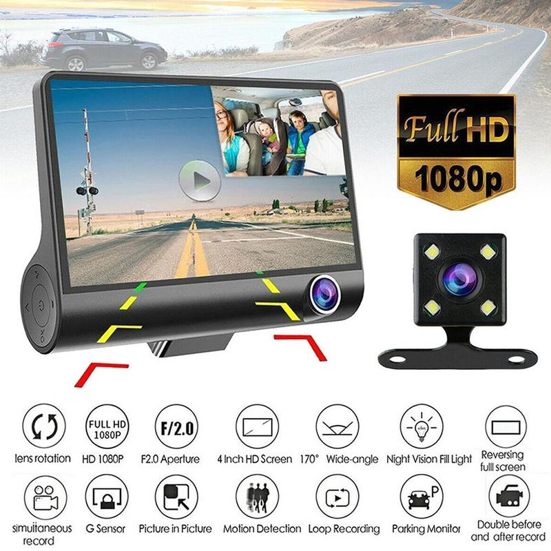 3 Lens Driving Recorder 4 Inch HD 1080P Car Front and Recorder Rear Car Driving K6D1