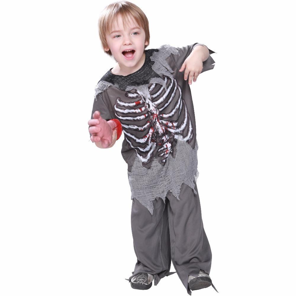 Skeleton Bloody Zombie Boy Costume Horror Halloween Kids Fancy Dress Outfits