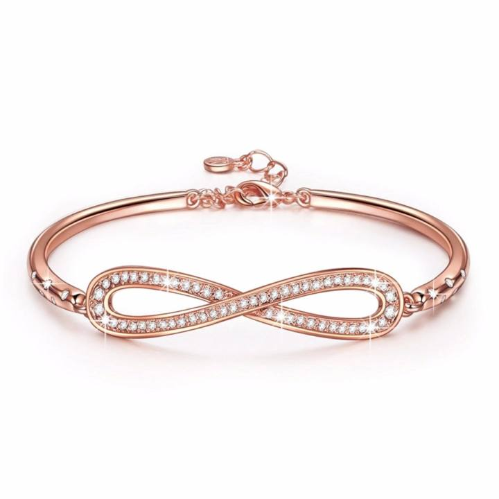 "Swarovski Crystals LadyColour ""Endless Love"" Infinity Bangle Bracelets, Made with Swarovski Crystals 6.7"" plus 1.25"" - intl"