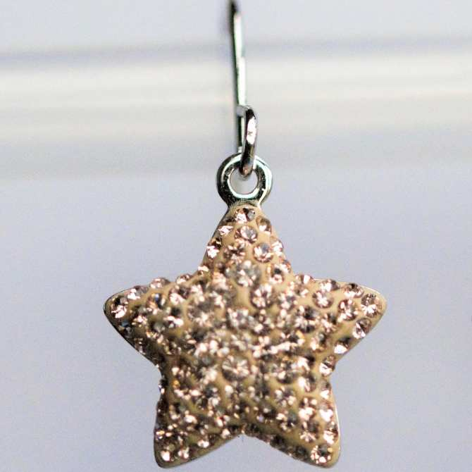 Star Hook Earrings Pave Pendant 14mm (Made with Crystals From Swarovski®)