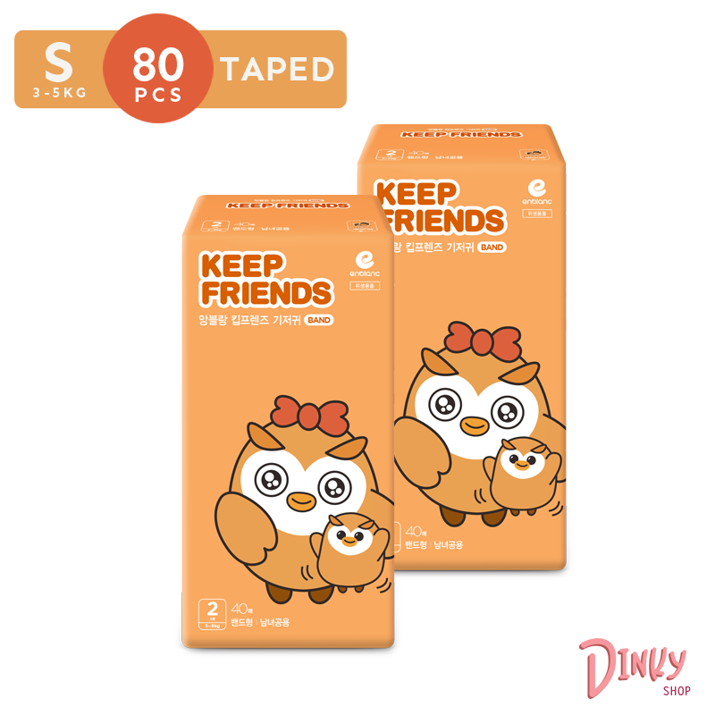 【Keep Friends 앙블랑 】Small Taped Diaper (3 - 5kg) 80pcs | High Absorbency up to 1000ml & Soft comfy honeycomb by the dinky shop