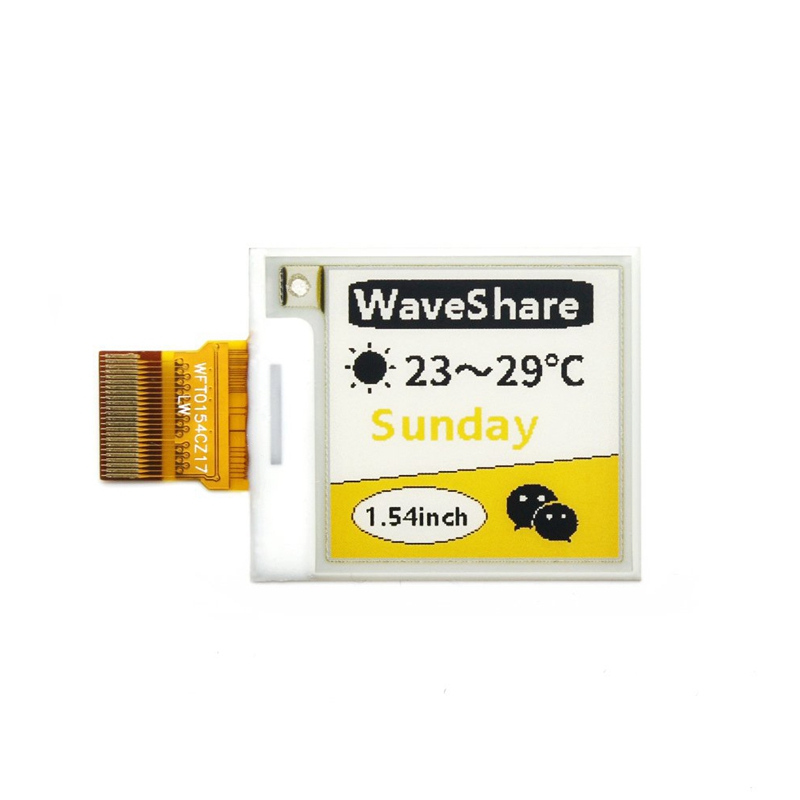 Waveshare 1.54Inch E-Ink Raw Display 152X152 Resolution SPI Interface Supports Yellow Black and White Three-Color Display