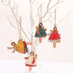 4 PCS Christmas Metal Dancing Angel Pendants Christmas Tree Hanging Ornaments Xmas Tree Doll Decorations for Home Party