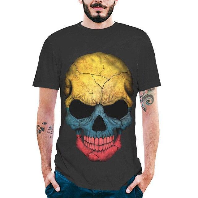 New Arrived streetwear Men Clothes Fashion Mens Splash-ink 3D Printing Skull Shirt Short Sleeve T-Shirt Blouse Tops harajuku #C
