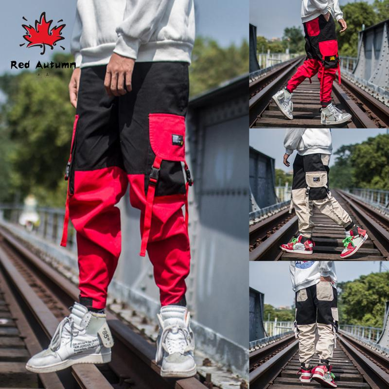 Men's Overalls Retro Style Color Contrast Multi Pocket Casual Pants Loose Editon Fashion Long Trousers