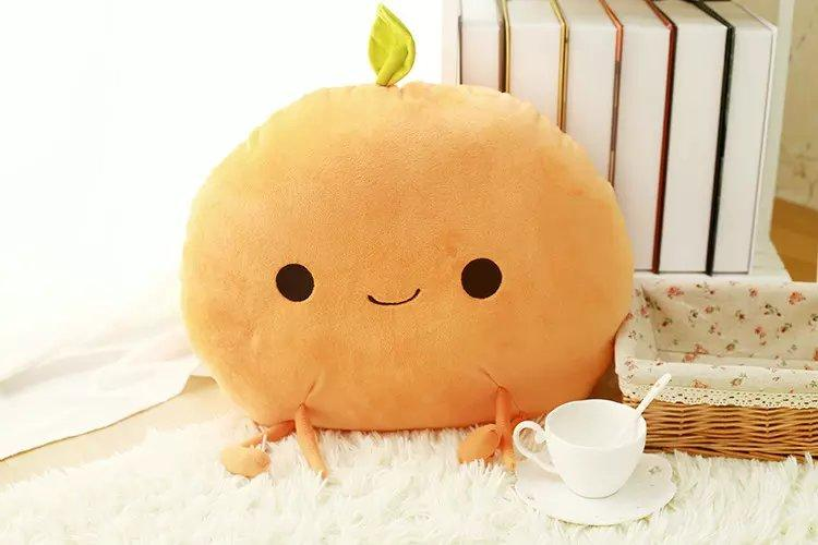 South Korea Cute Fruit Pillow Lemon Grape Mango Pear Peach Orange Cartoon Expression Plush Pillow Female