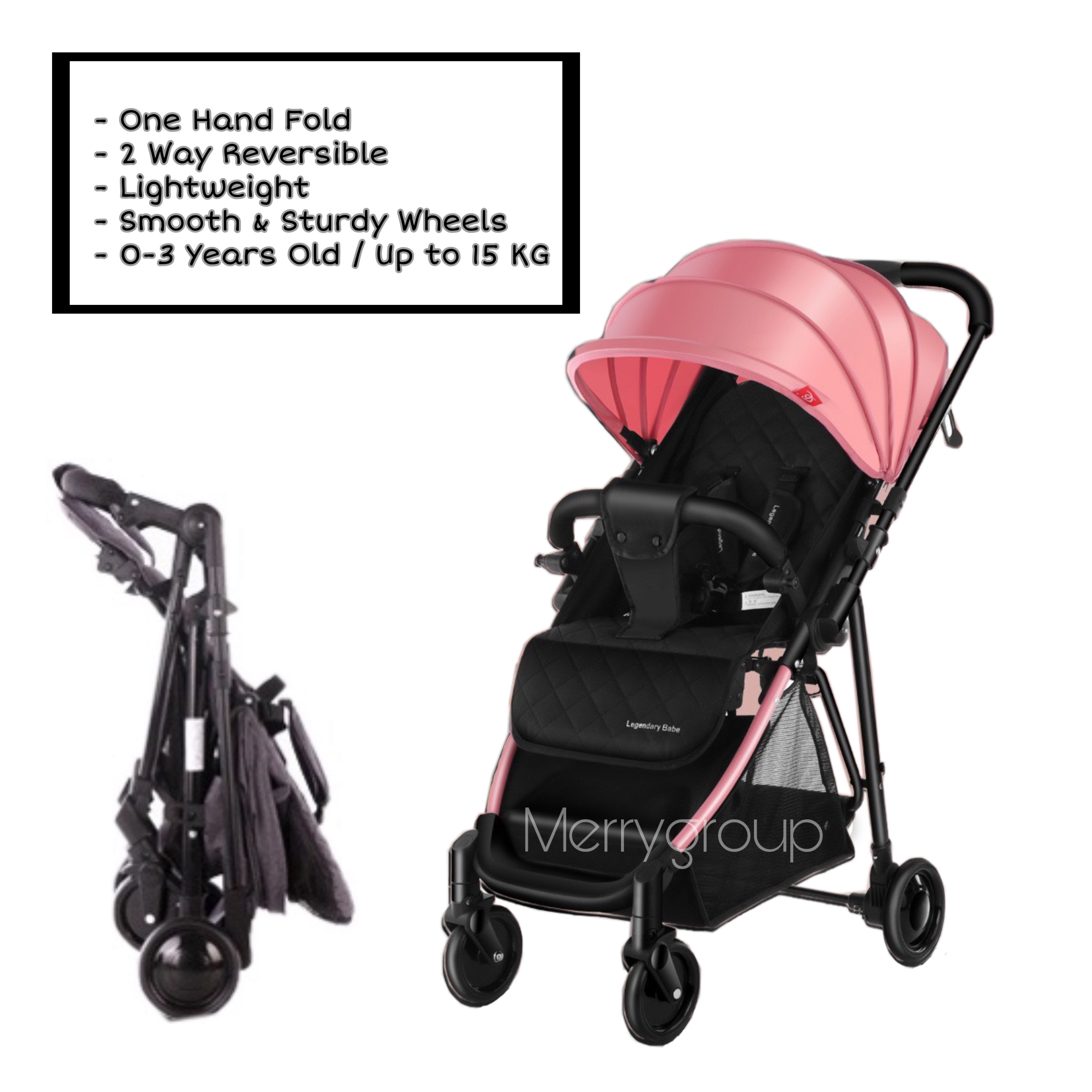 New Arrival 2 Way Reversible One Hand Fold Lightweight Baby Stroller Children Kid Toddler Newborn Infant Portable Compact Baby Pram Check In Kg Waterproof Folding Trolley Carriage Sets Pockit Multifunction Double Twins Girl Boy High Chair Reclinable Seat