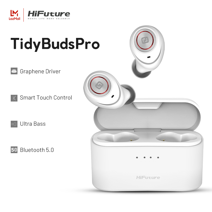 HiFuture TidyBuds Pro True Wireless Earphone Bluetooth 5.0 High Quality Deep Bass Earphone 8 Hours Playback and 100 Hours Rechargeable Playback Use IPX5 Waterproof Smart Touch Sensor Control Compatible with Android IOS and Windows New Upgrade thumbnail