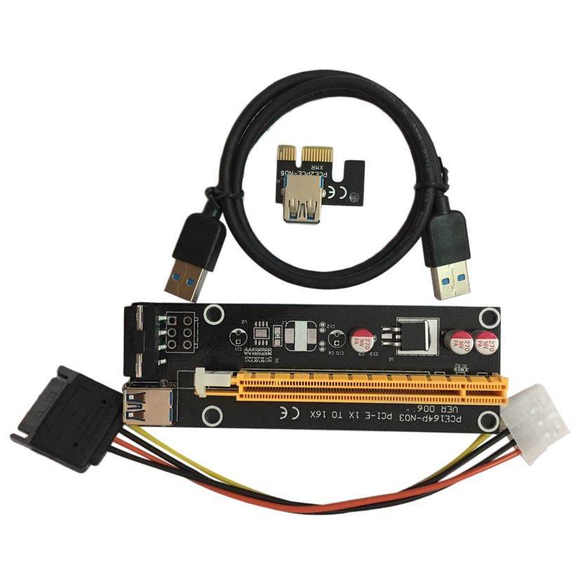 ĐẦU PCI-E PCI Express 1X để 16X Riser USB 3.0 SATA sang 4Pin IDE Dây Nguồn