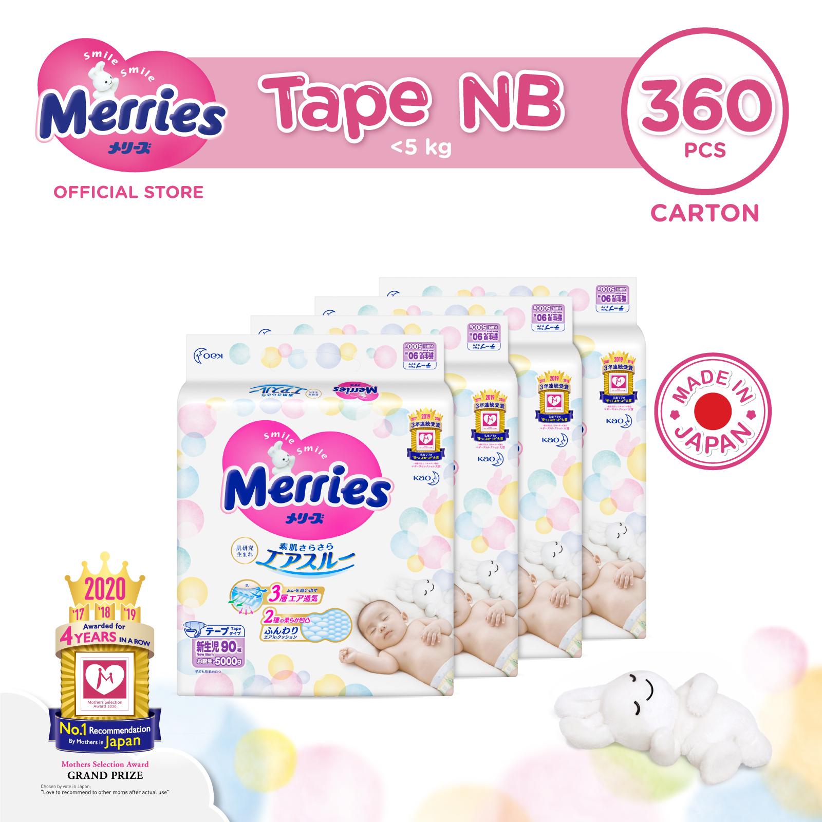 Merries Tape Diapers Carton NB90s x 4 packs