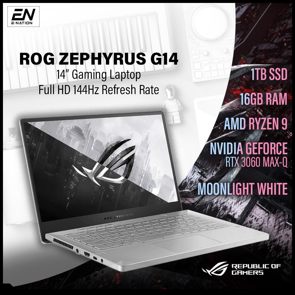 "ASUS - ROG Zephyrus G14 14"" 144Hz | G15 165Hz Gaming Laptop - AMD Ryzen 9 - 16GB Memory - NVIDIA GeForce RTX 3060 Max-Q - 1TB SSD - Moonlight White | GA401 & GA503QR (2021) | [Same Day Delivery]"