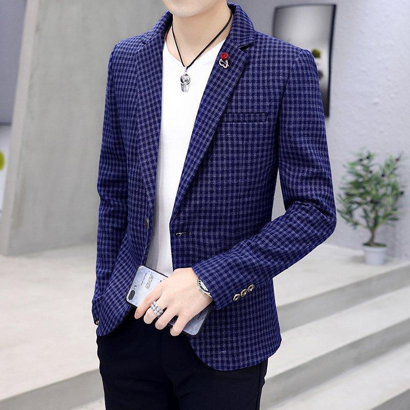 Kẻ Sọc Âu Phục Nam 2019 Mùa Xuân Mẫu Mới Kiểu Hàn Quốc Ôm Đẹp Trai Bộ Suit Nhỏ Đồ Nam Giản Dị Nhiều Kiểu Phối Đồ Đồ Tây Áo Khoác