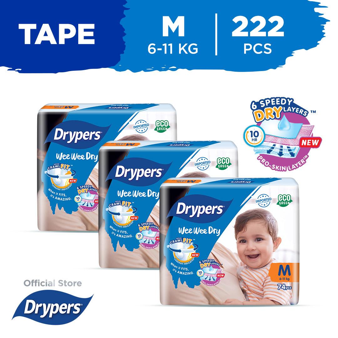 Drypers Wee Wee Dry M 74S X 3 Packs (6 Kg - 11Kg) 222Pcs/Box