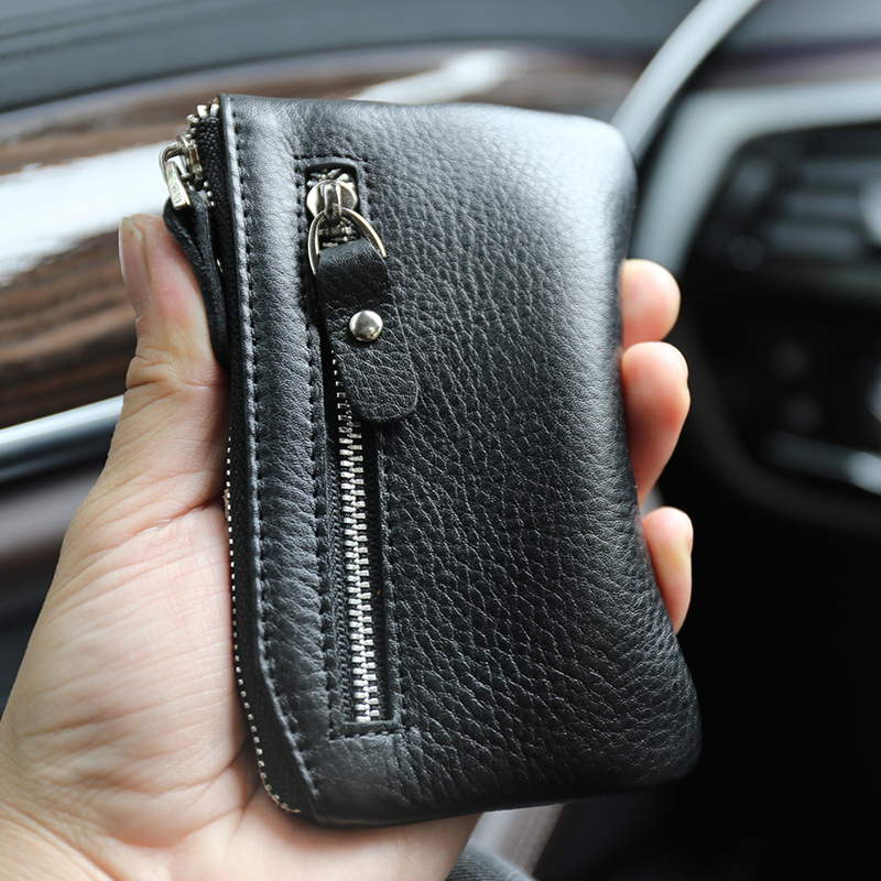 Card Wallet Purse Retro Genuine Leather Layer Keys License Portable Coin Bags