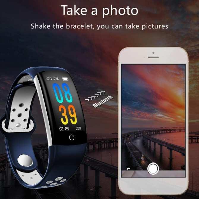 Lotsgoods Q6 0.96 inch Bluetooth IP68 Chống Nước Theo Dõi Thời Gian Thực Đo Nhịp Tim cho Android IOS
